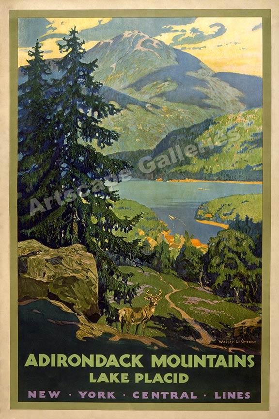 Adirondack Lake Placid New York Vintage Style Travel Poster