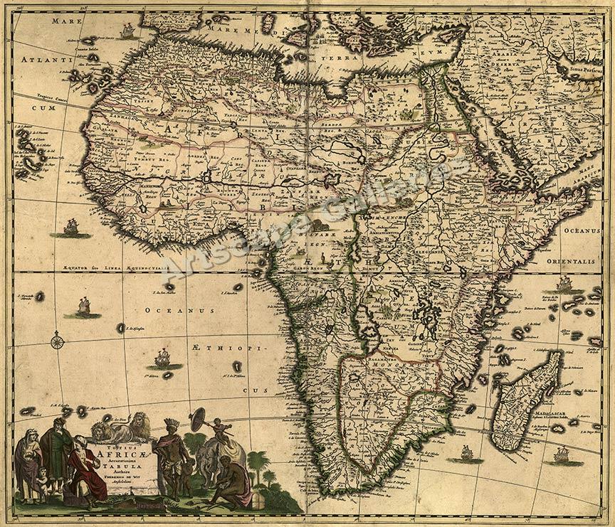 1688 Africa Mediteranean Vintage Style Old Map 20x24 eBay
