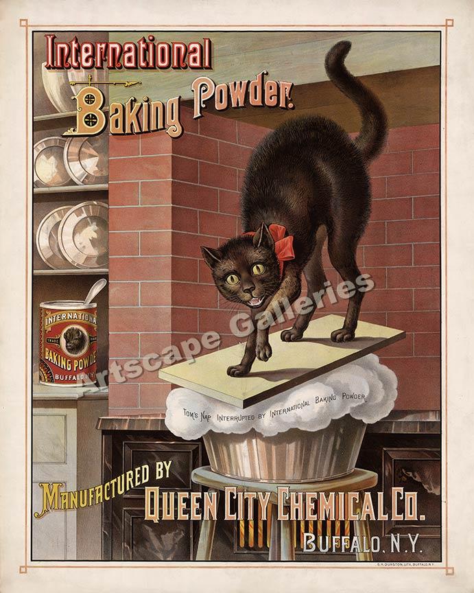 1880s Black Cat Baking Powder Advertising Poster 24x30 | eBay
