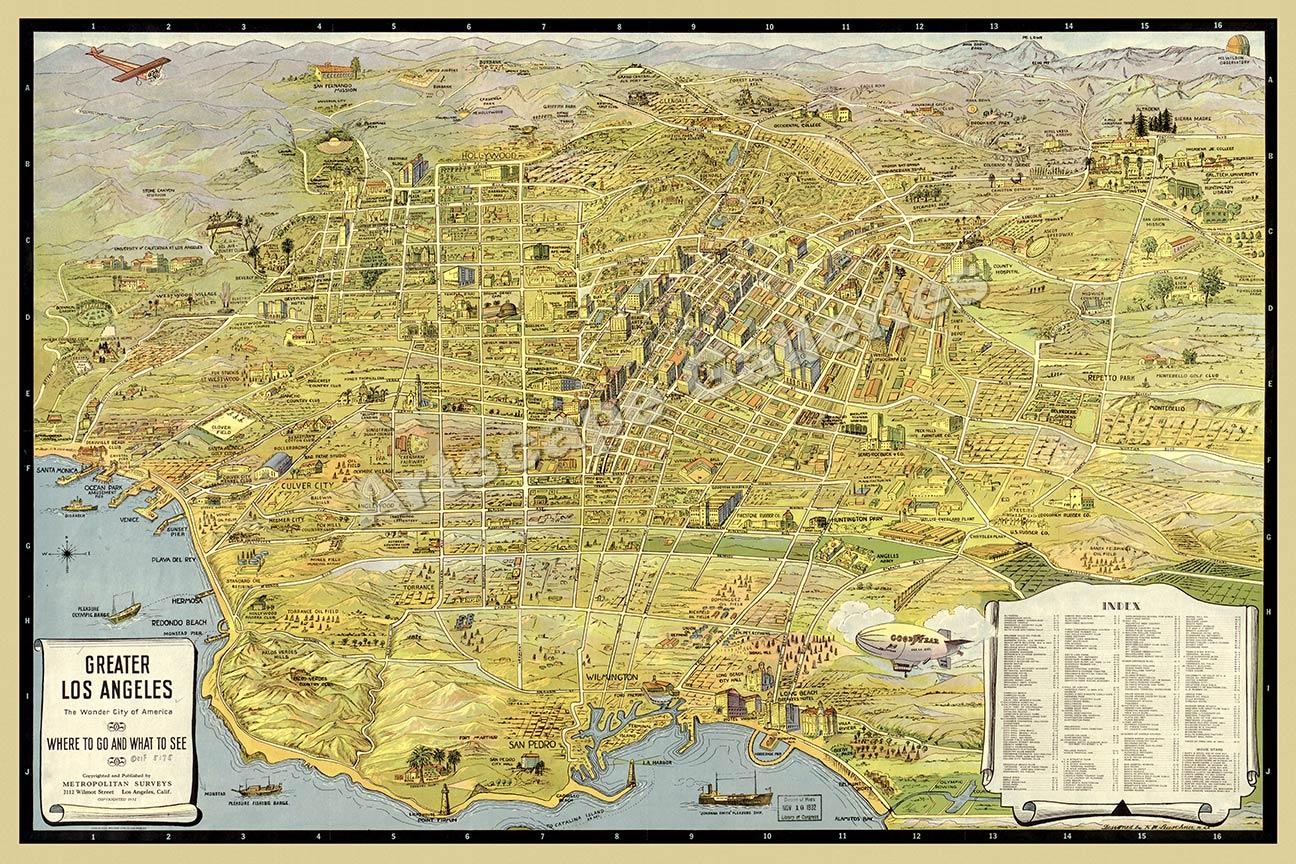 LosAngelesGjpg - Vintage los angeles map poster