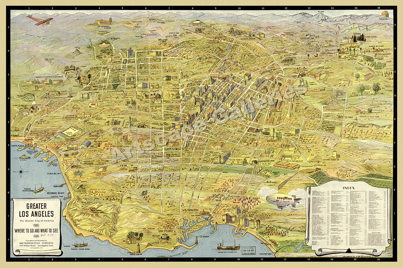 Los Angeles Panoramic Sightseeing Map Print X EBay - Los angeles map sightseeing