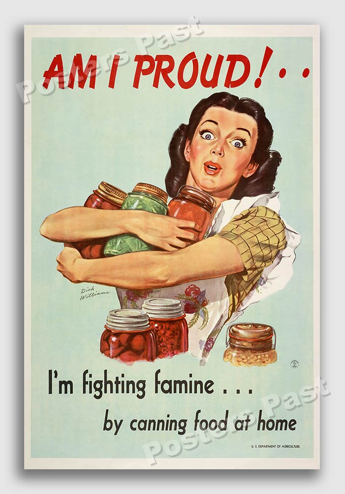 1946 Am I Proud Vintage Style Homefront Ww2 Food Poster