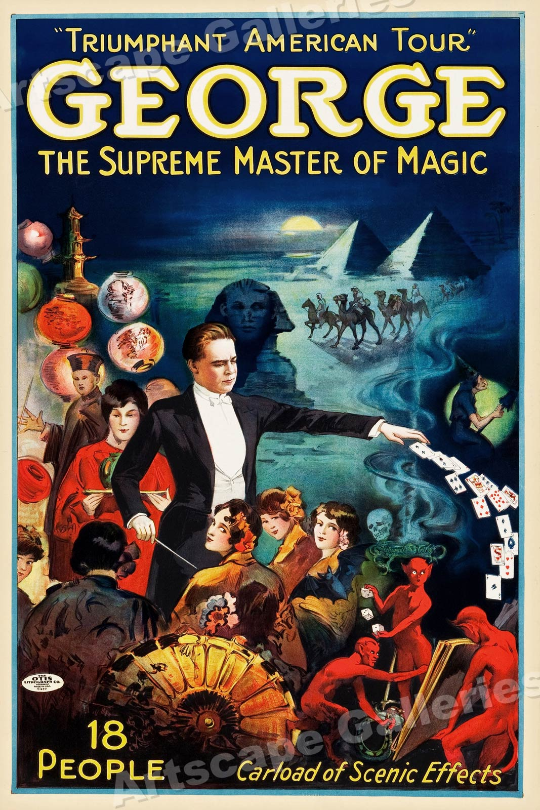 George Master Of Magic 1920s Vintage Style Magic Poster