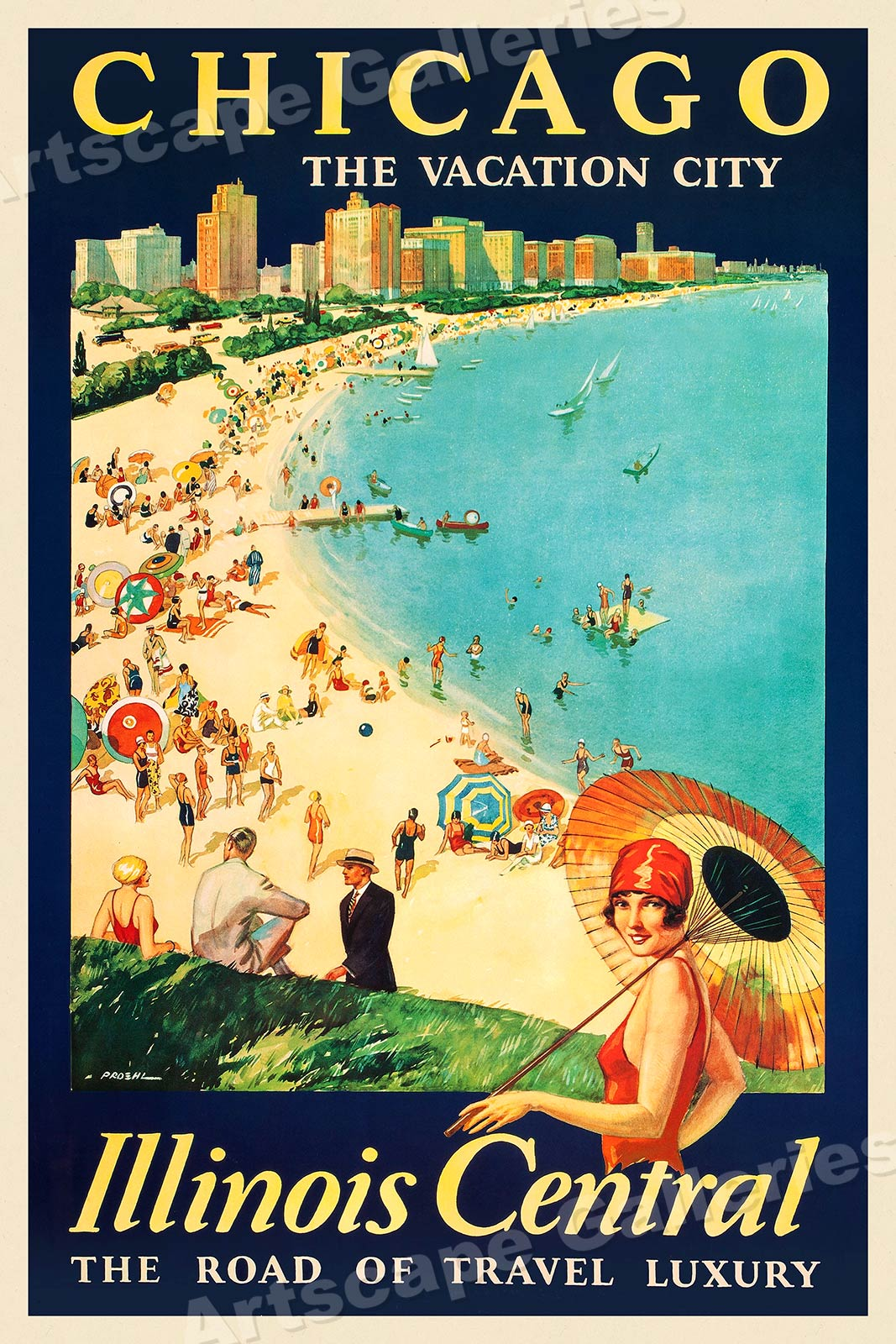 1929 chicago the vacation city vintage style travel poster