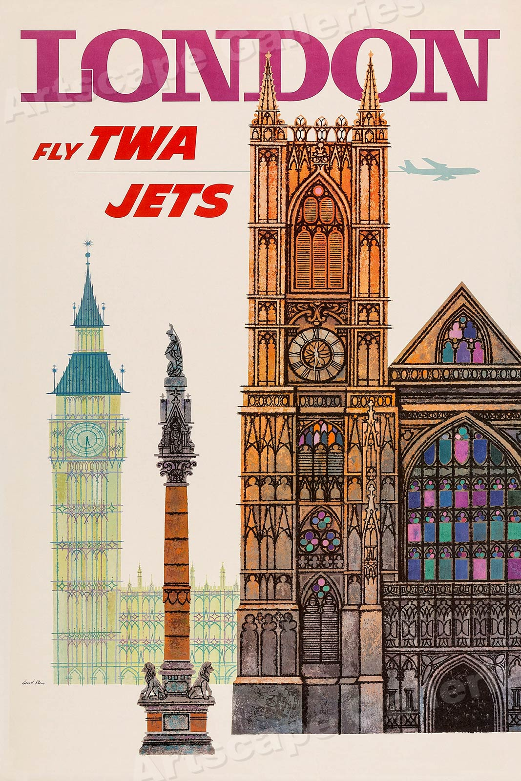 1960 London Fly Twa Jets Vintage Style Travel Poster
