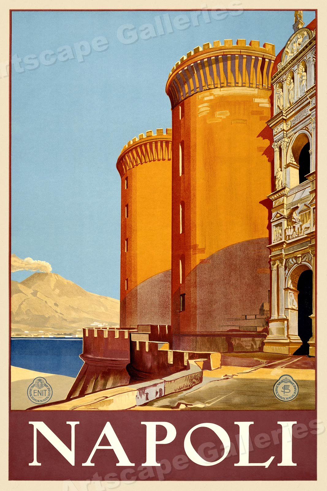 1920s Napoli Naples Vintage Style Italian Travel Poster