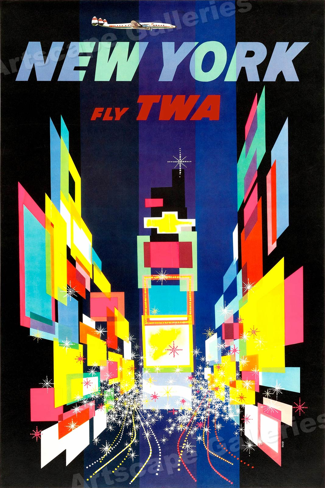 1960s New York Times Square Twa Vintage Style Travel