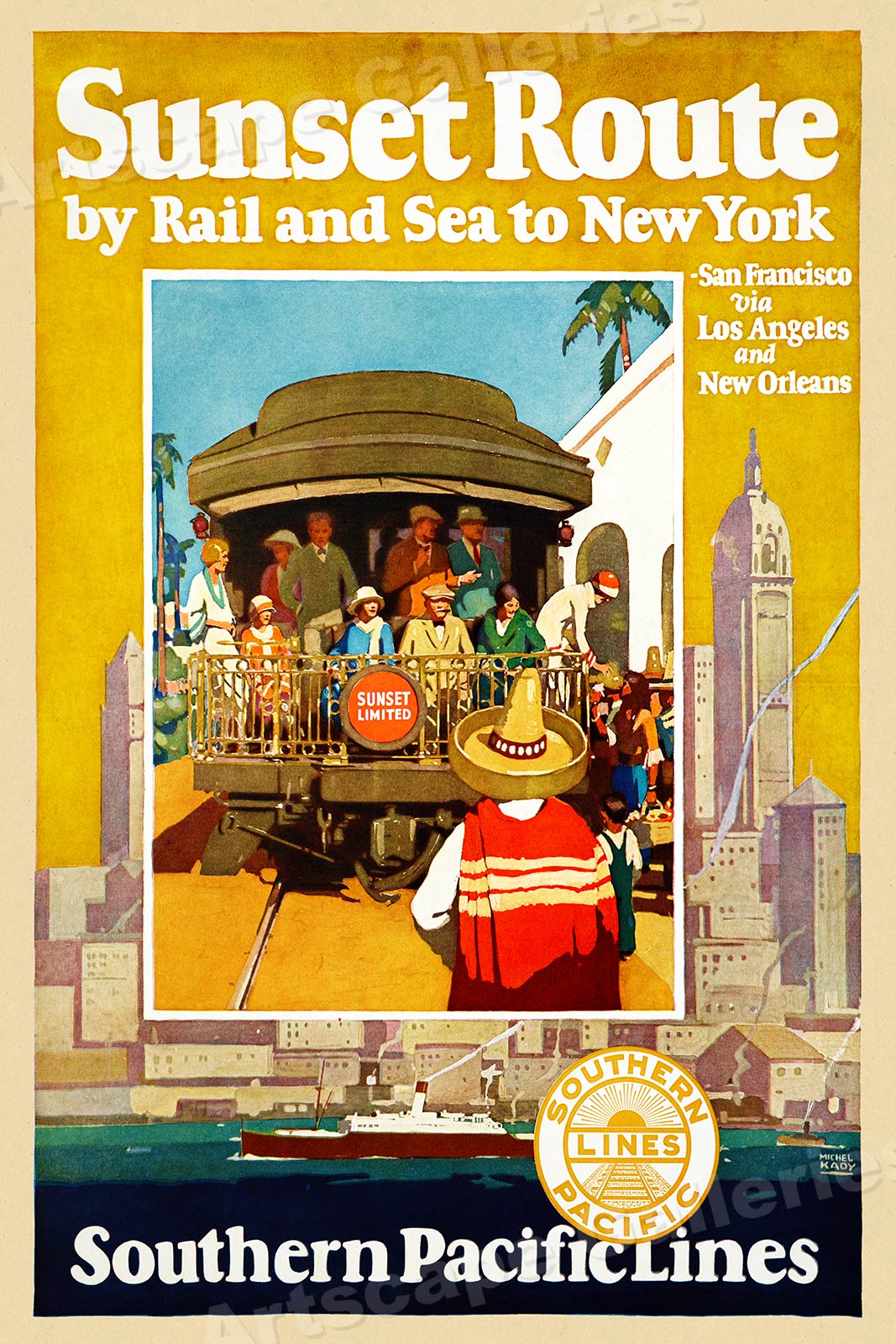 Southern Pacific Railroad Sunset Route Vintage Style Travel - Los angeles posters vintage
