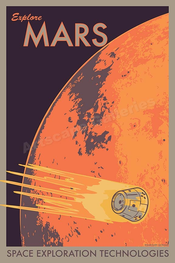 Explore mars space exploration retro outer space travel for Retro outer space