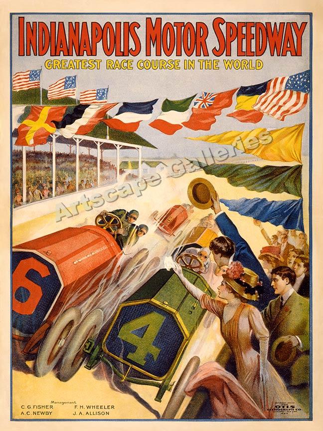 1909 indianapolis motor speedway racing poster 18x24 ebay for Indianapolis motor speedway indianapolis in