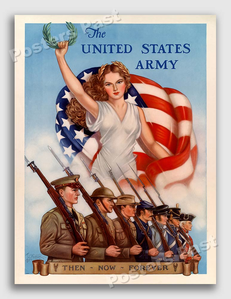 1940 us army then now forever vintage style ww2 recruiting poster 18x24 ebay