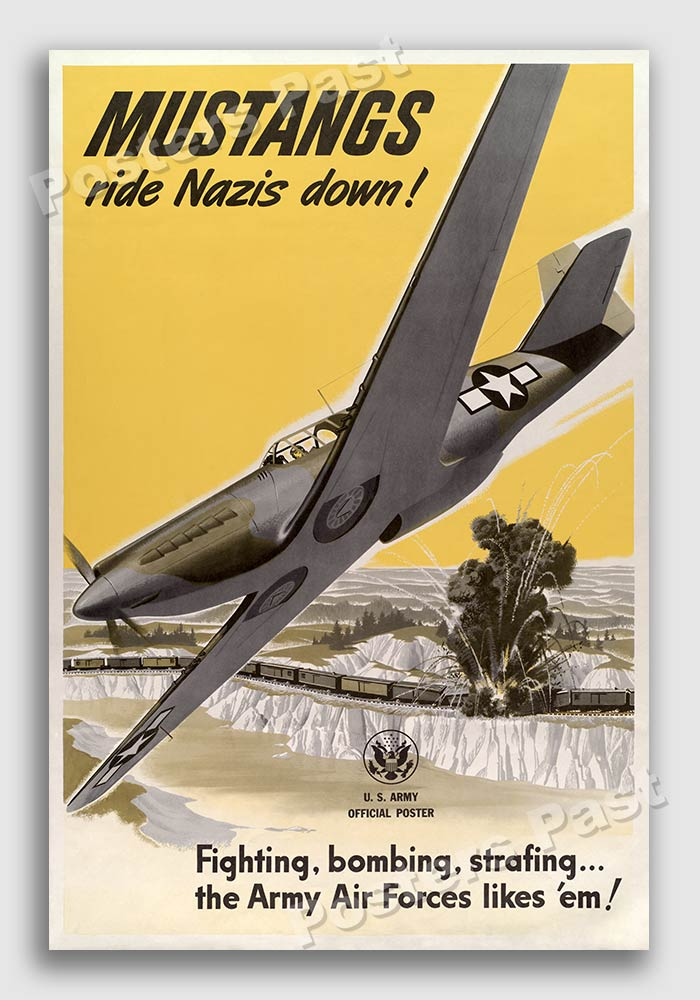 """1943 """"Mustangs ride Nazis down!"""" Vintage Style WW2 Poster 24x36"""