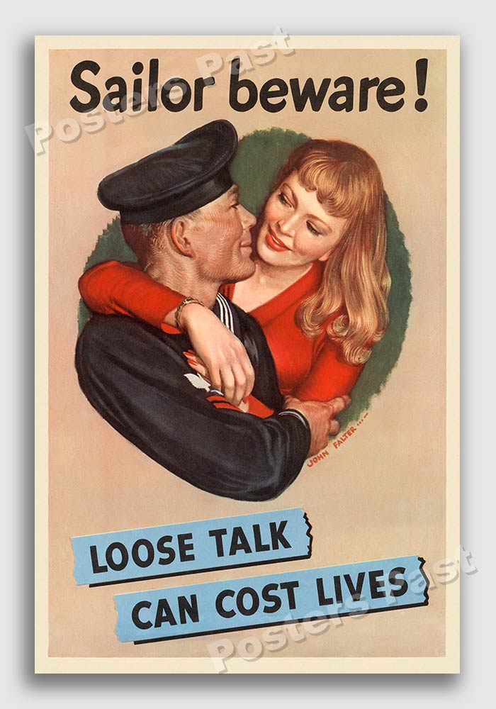 Vintage WW2 Information poster reproduction Loose talk