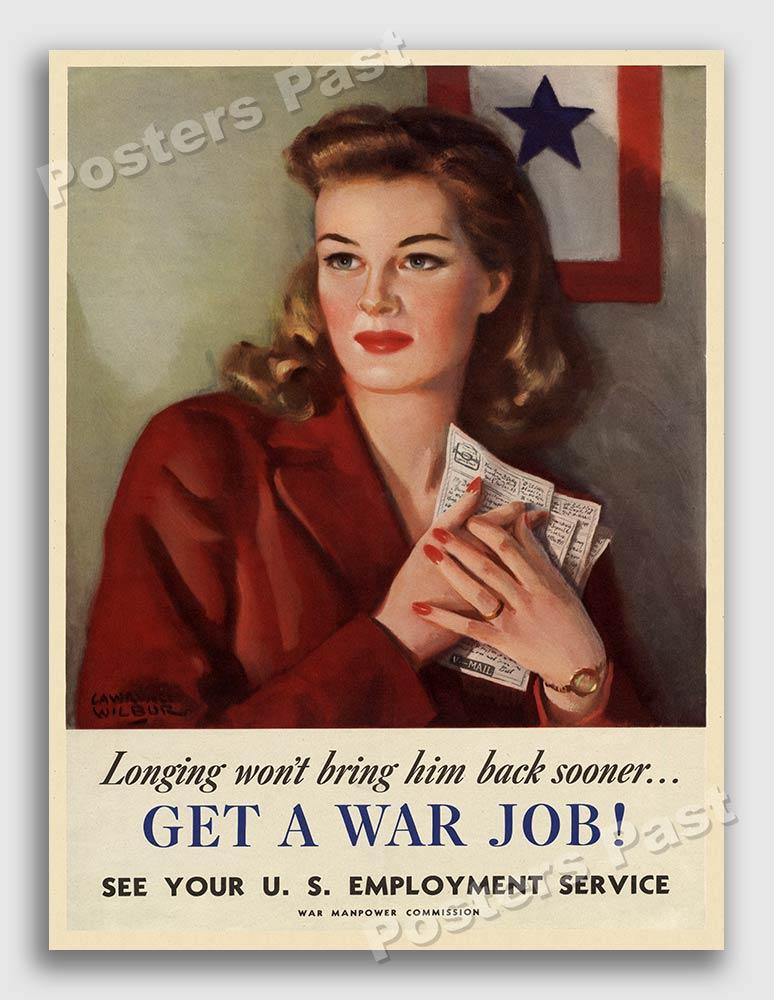 "Fashion Flashback Wwii Women S Fashion: Women ""Get A War Job!"" 1944 Vintage Style WW2 War Poster"