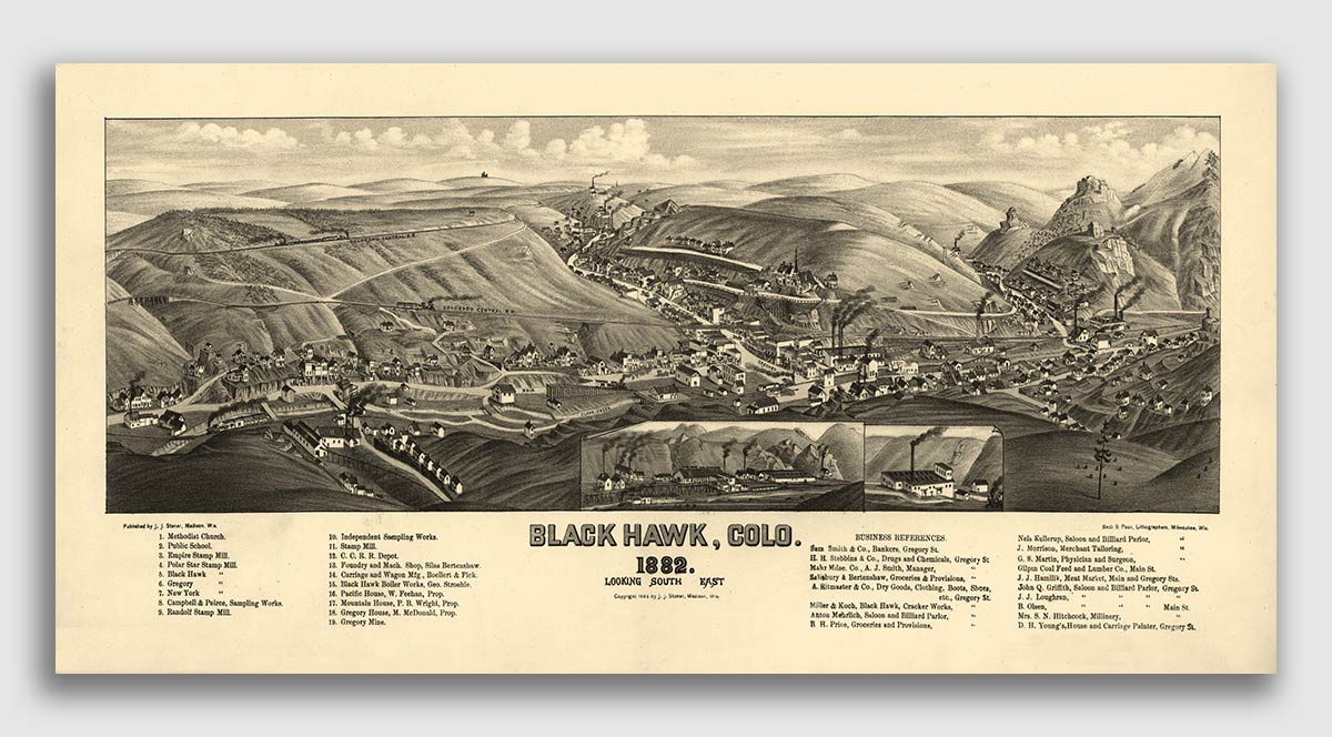Gunnison Colorado 1882 Historic Panoramic Town Map 24x48