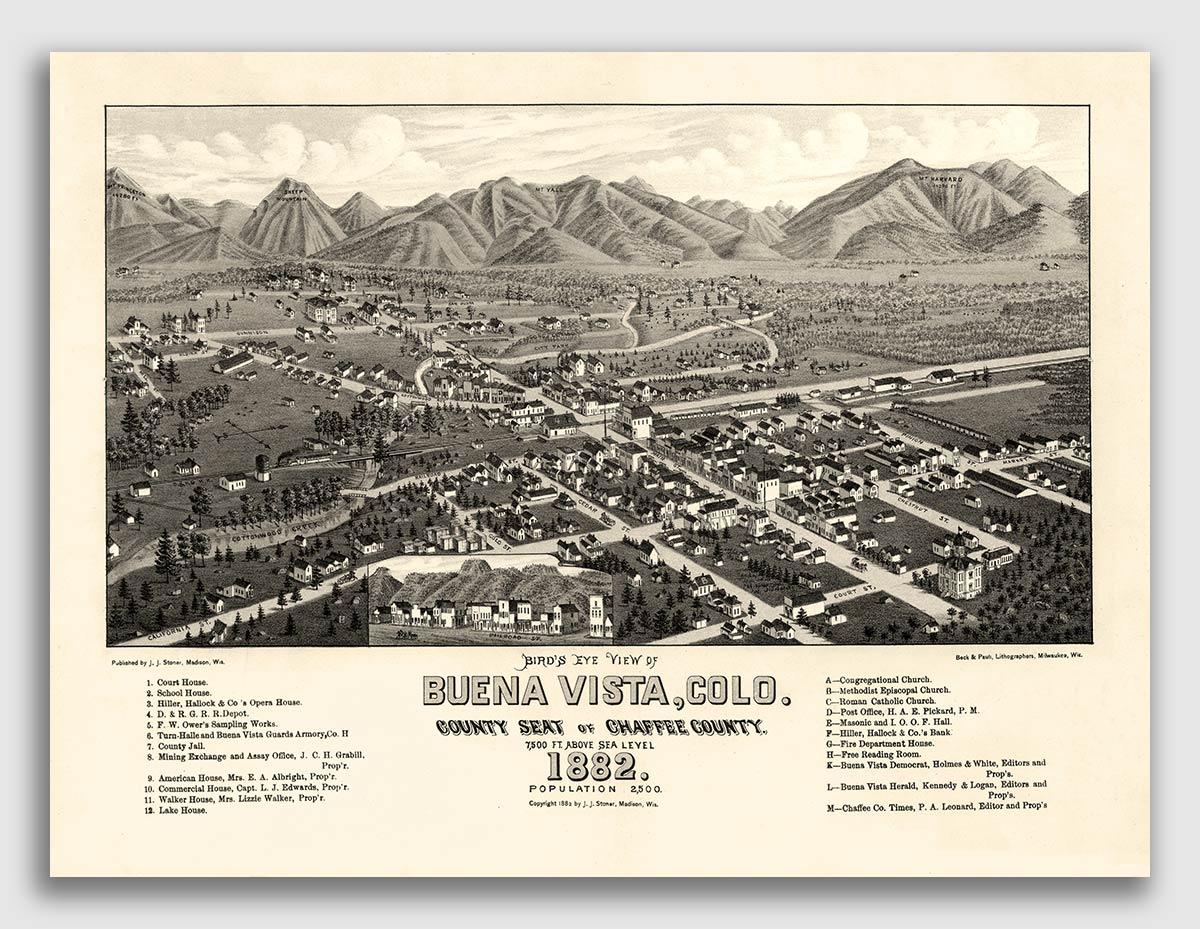 Bird/'s Eye View 1896 Cripple Creek Colorado Vintage Style City Map 24x32