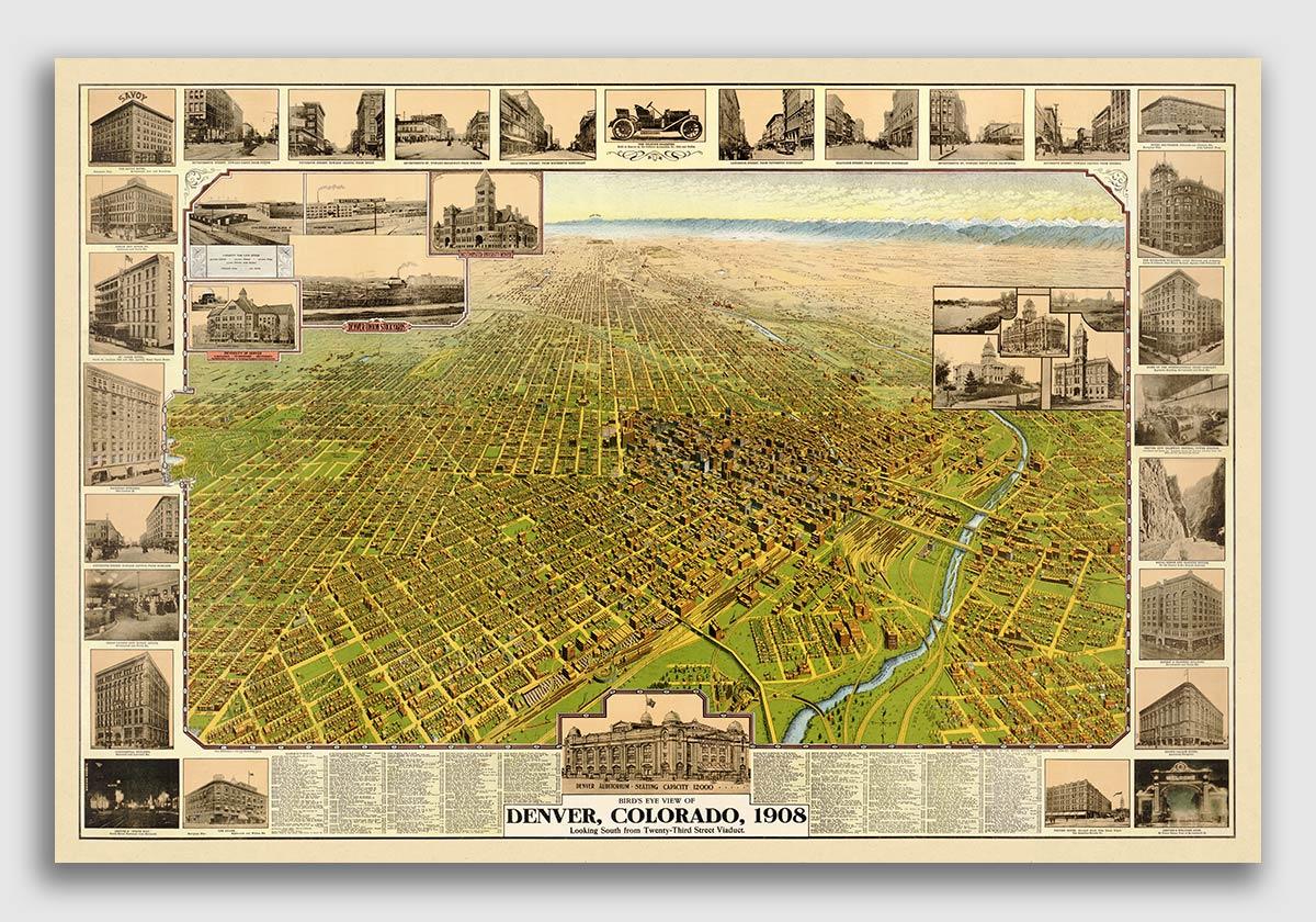 Bird/'s Eye View 1895 Cripple Creek CO Vintage Style City Map 16x24