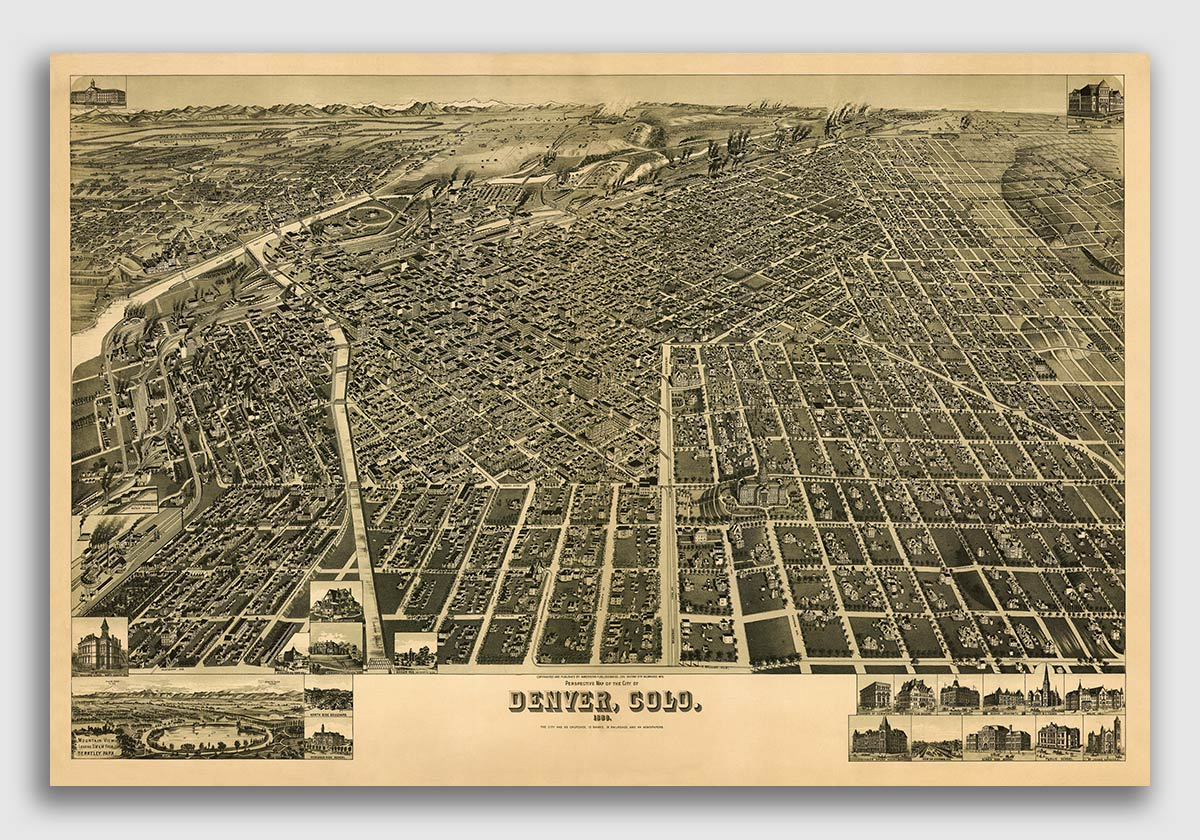 Bird S Eye View 1889 Denver Colorado Vintage Style City Map 20x30