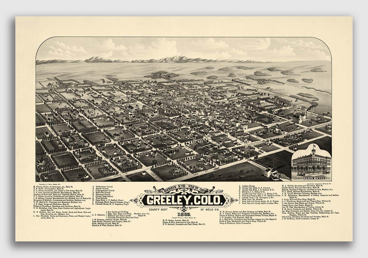 24x32 Bird/'s Eye View 1882 Buena Vista Colorado Vintage Style City Map