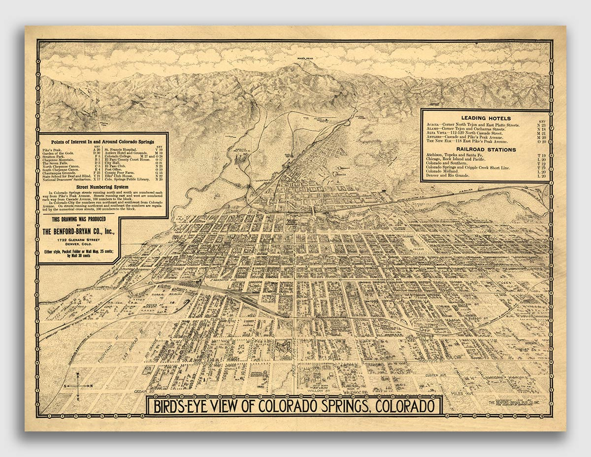 Details About 1909 Colorado Springs Co Vintage Old Panoramic City Map 24x32