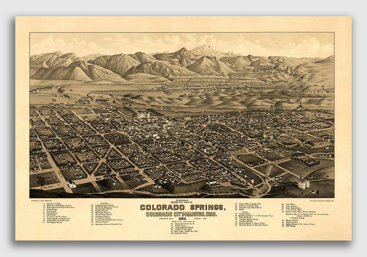 Cripple Creek Colorado 1895 Historic Panoramic Town Map 24x36