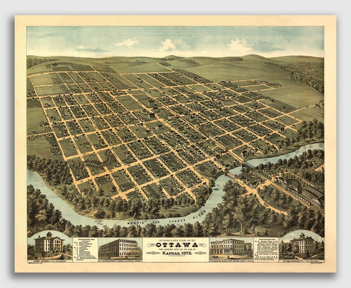 24x32 1871 Baxter Springs KS Vintage Old Panoramic City Map