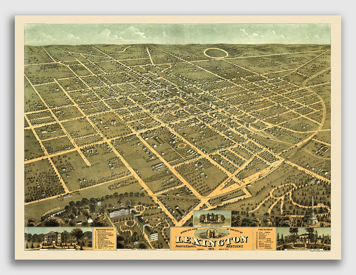 24x36 1883 Louisville Kentucky Vintage Old Panoramic City Map