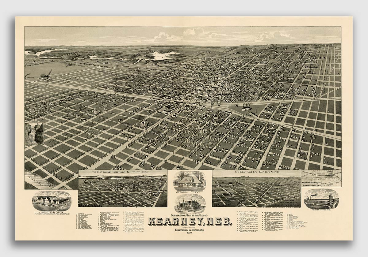 1889 Kearney Nebraska Vintage Old Panoramic City Map 20x30