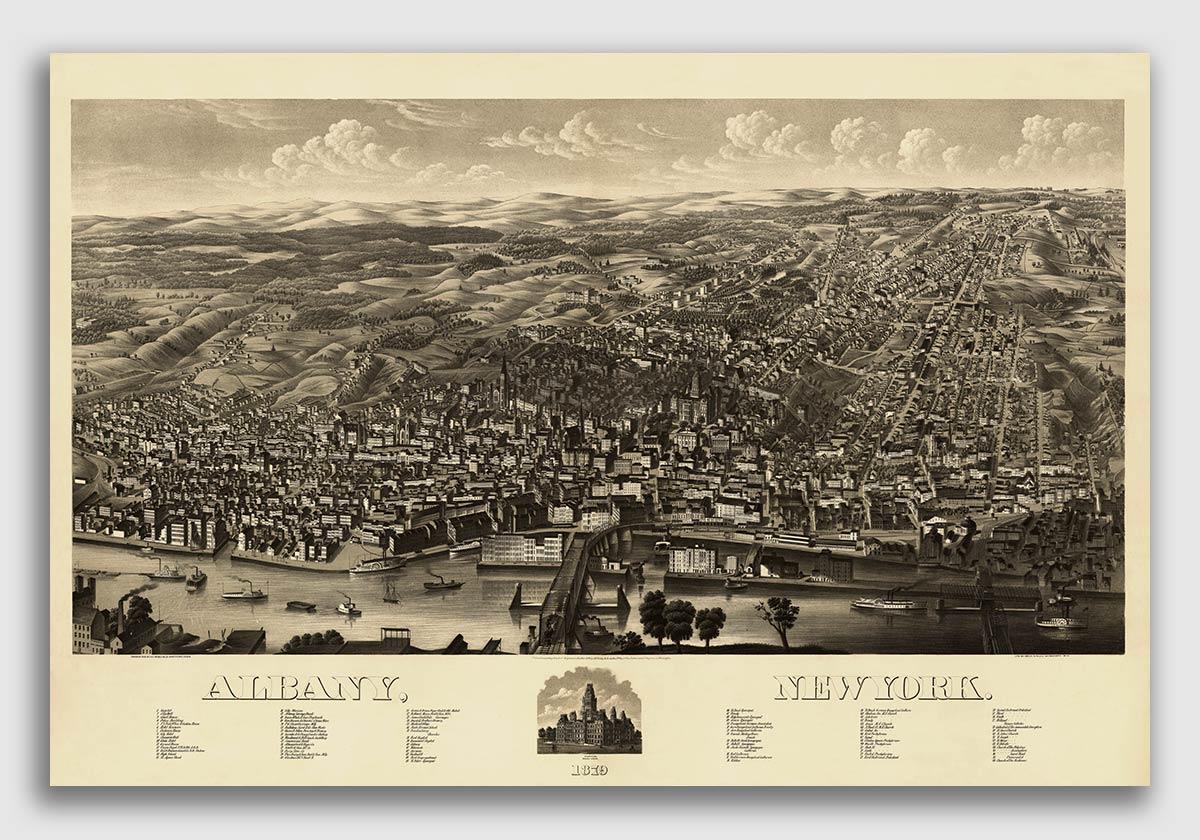 Bird/'s Eye View 1884 Glens Falls New York Vintage City Map 16x24