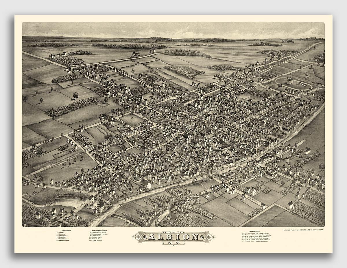New York Vintage City Map 20x28 Bird/'s Eye View 1876 New York City