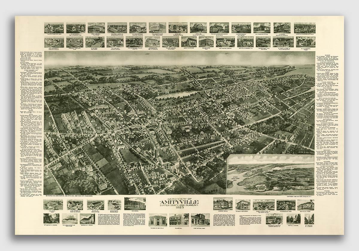 Amityville New York Map.1925 Amityville New York Vintage Old Panoramic Ny City Map 24x36