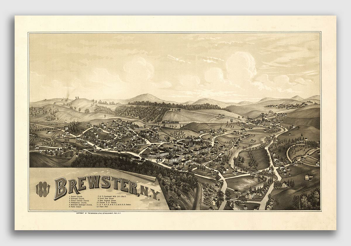 Fairport New York 1885 Historic Panoramic Town Map 16x24