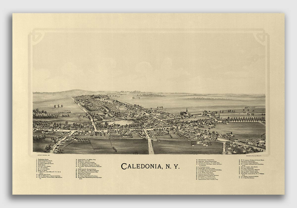 20x30 1885 Richfield Springs New York Vintage Old Panoramic NY City Map
