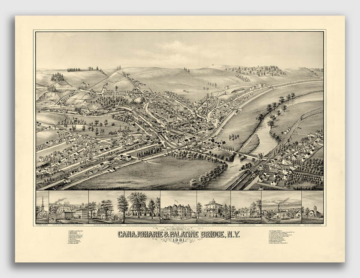 1881 Amsterdam /& Port Jackson New York Vintage Old Panoramic NY City Map 20x30