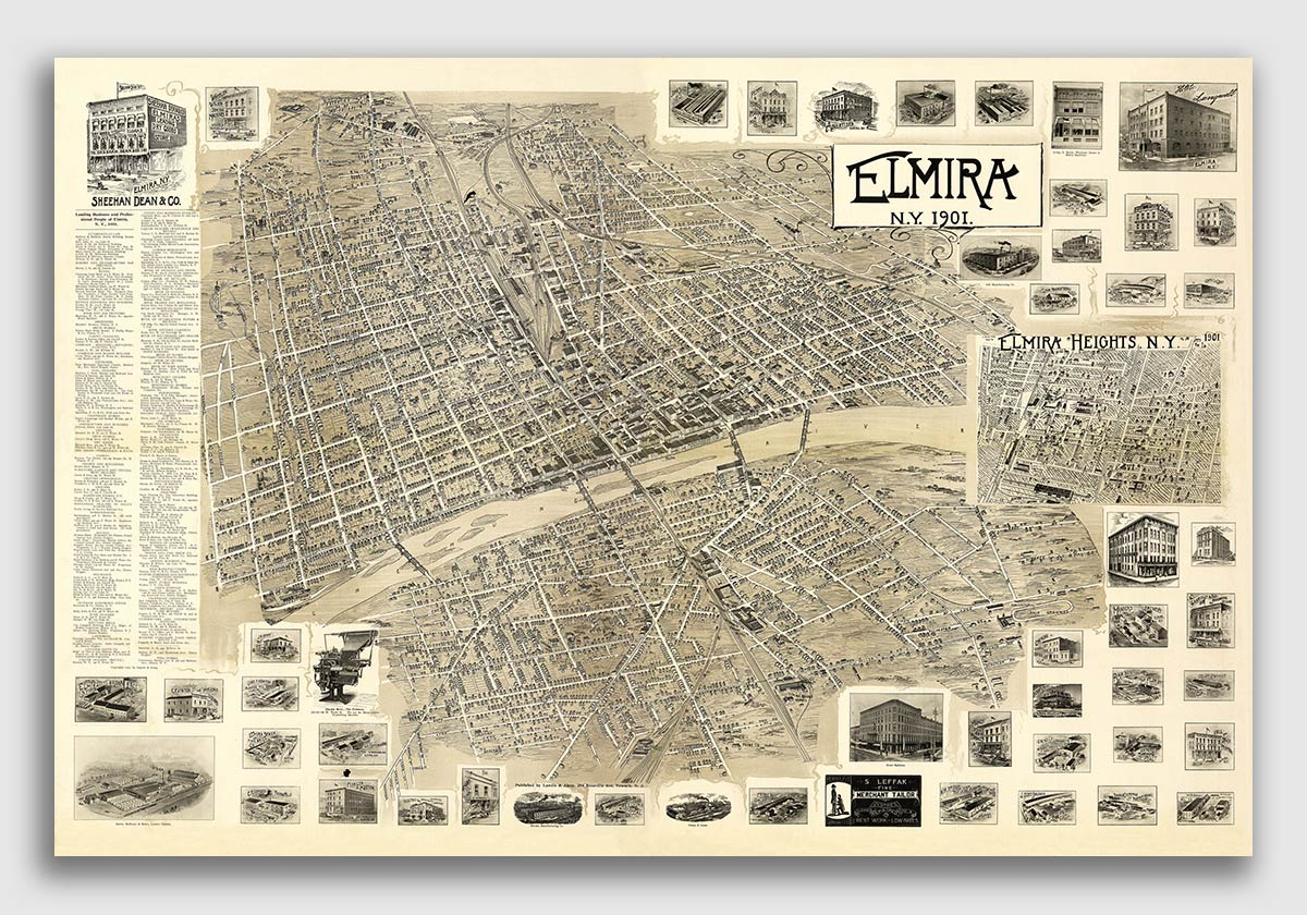 1882 Jamestown New York Vintage Old Panoramic NY City Map 16x24