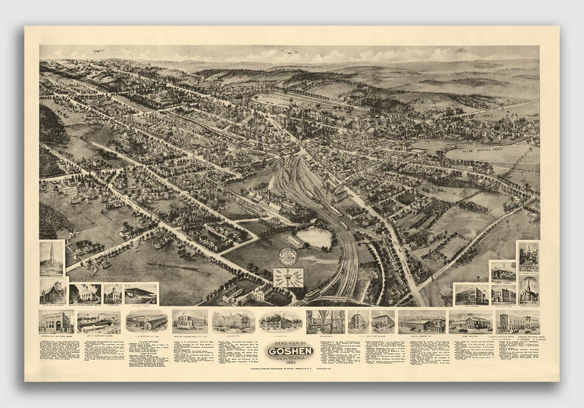 Bird/'s Eye View 1922 Middletown New York Vintage City Map 24x36
