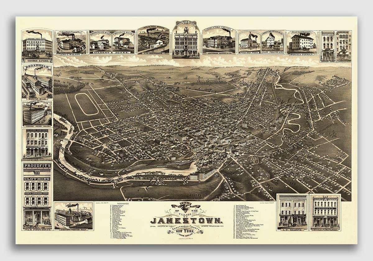 1894 Cortland New York Vintage Old Panoramic NY City Map 16x24