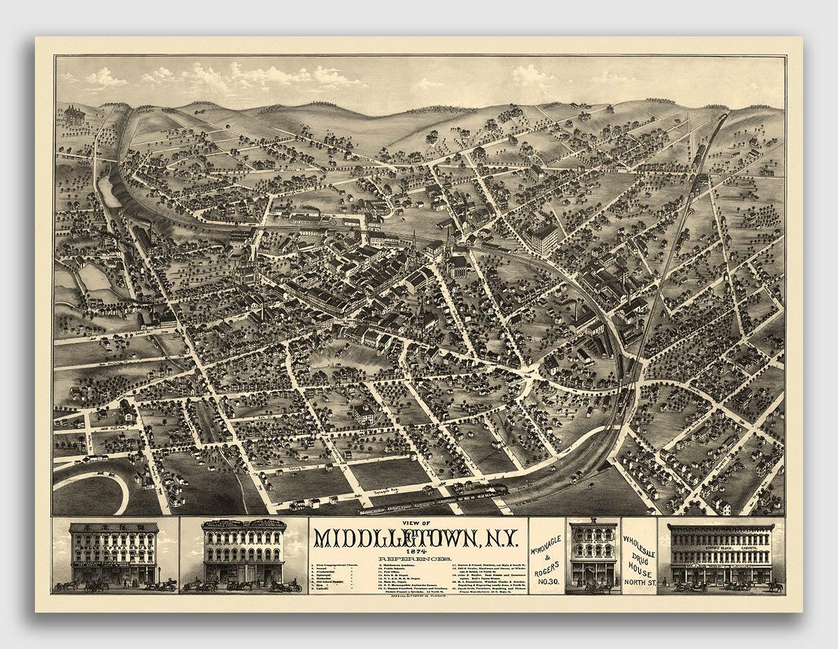 New York City New York 1886 Historic Panoramic Town Map 16x24