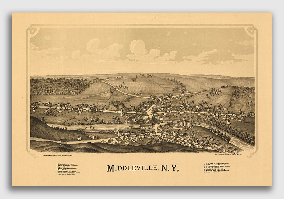 Johnsville New York 1890 Historic Panoramic Town Map St 16x24