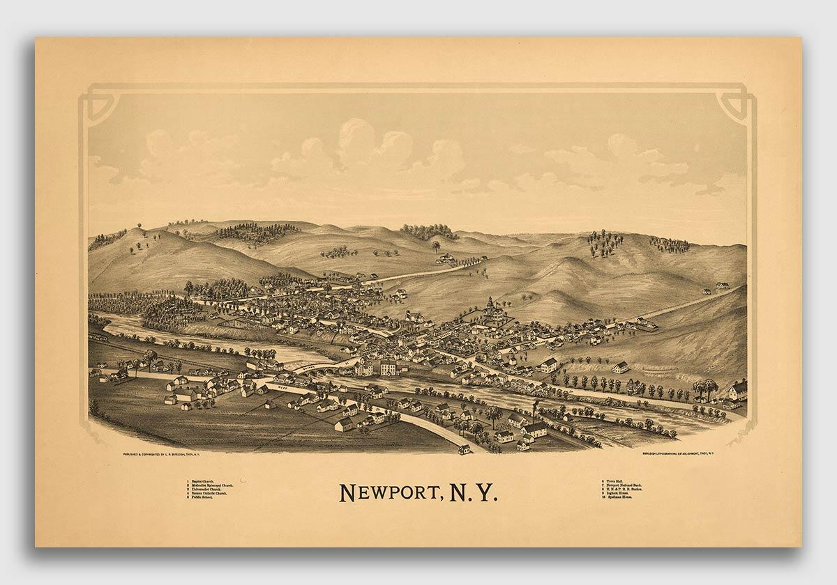 New York 1879 Historic Panoramic Town Map New York City 20x24