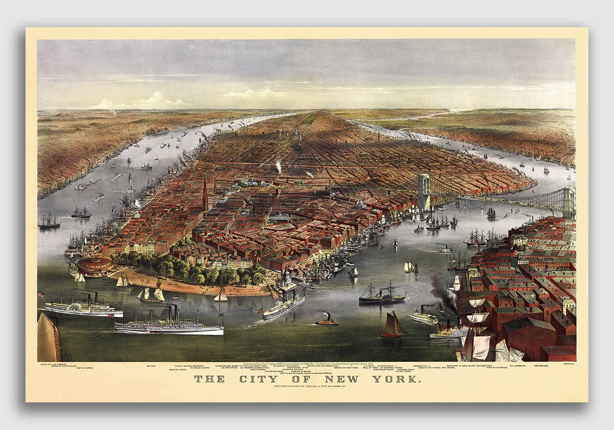 16x24 1879 Brooklyn New York Vintage Old Panoramic NY City Map