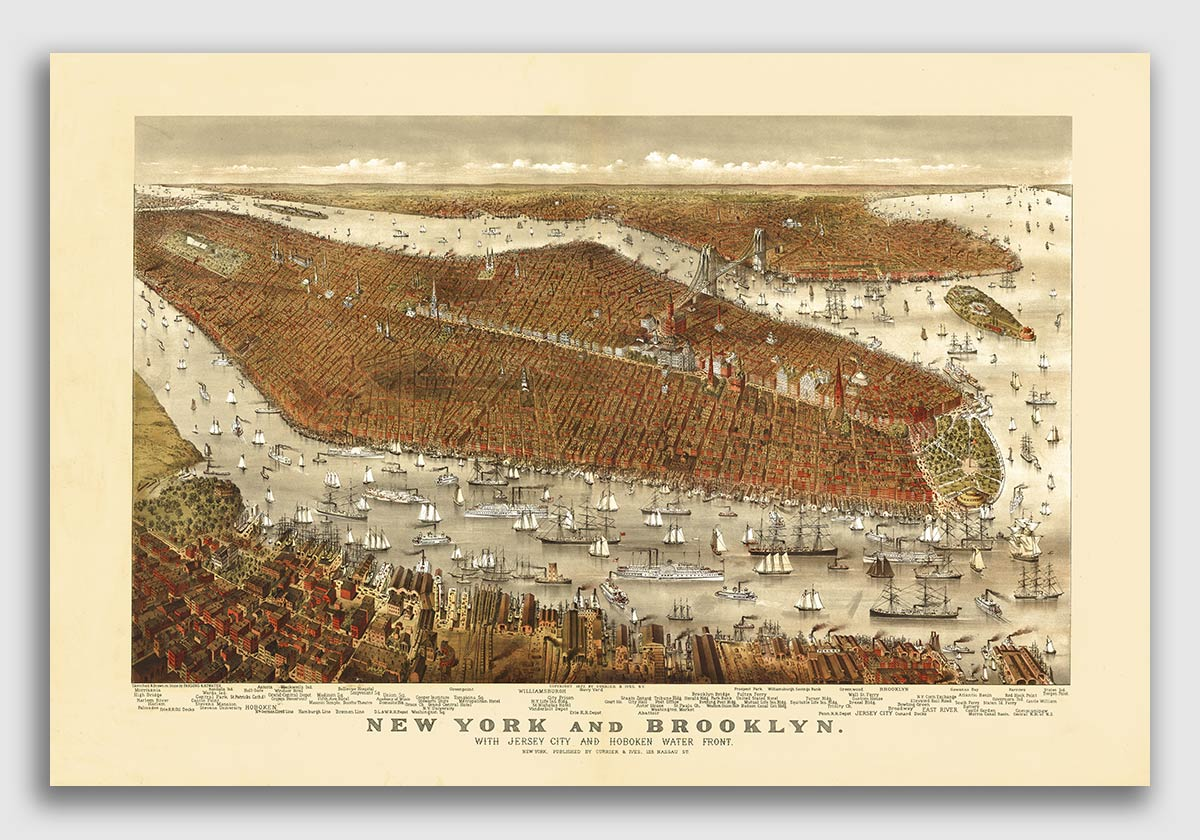 1905 New York City 20x30 New York Vintage Old Panoramic NY City Map