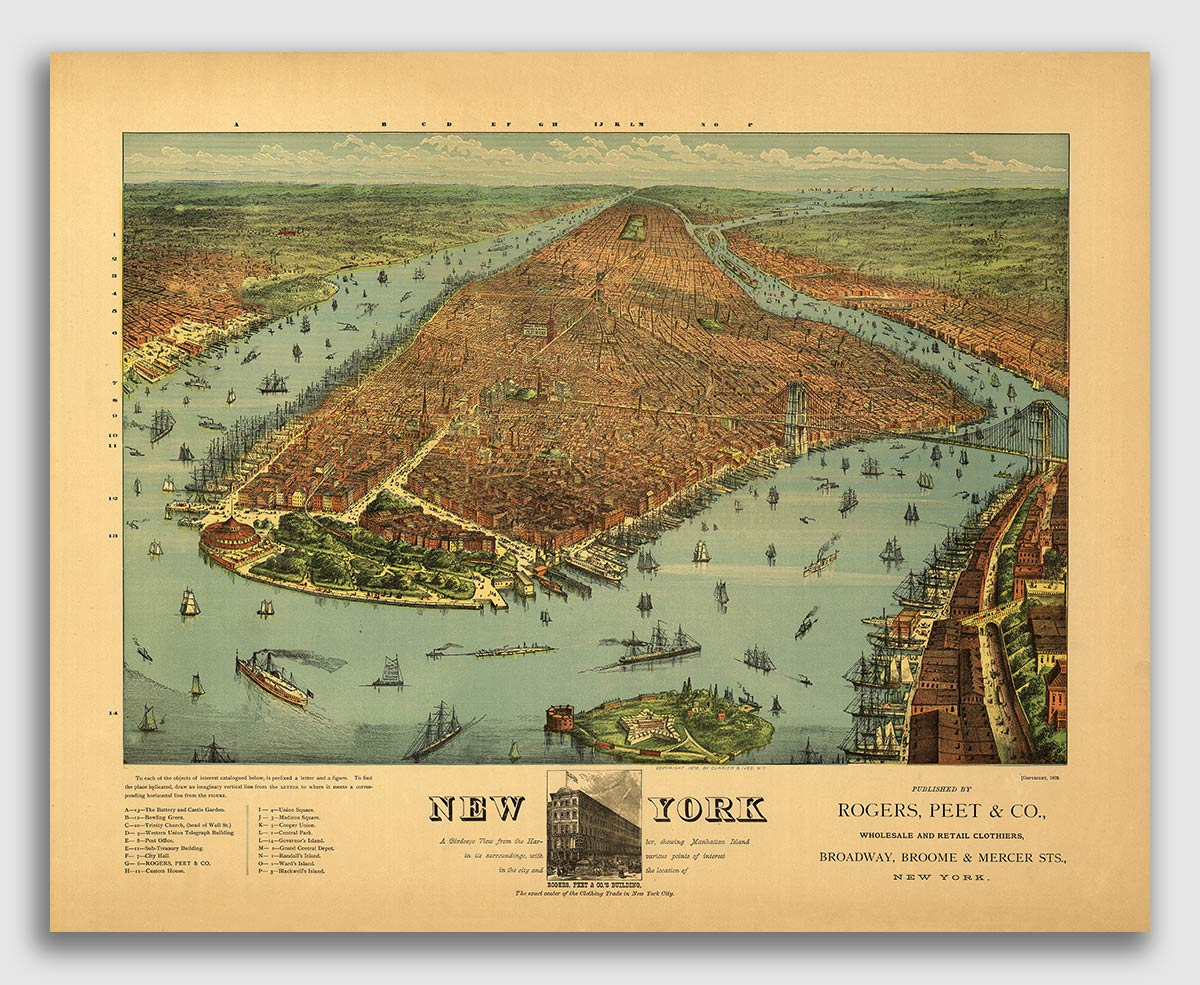 1877 Plattsburgh New York Vintage Old Panoramic NY City Map 16x20