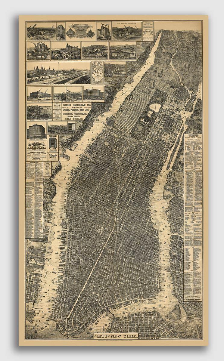 Rome New York 1886 Historic Panoramic Town Map 18x36