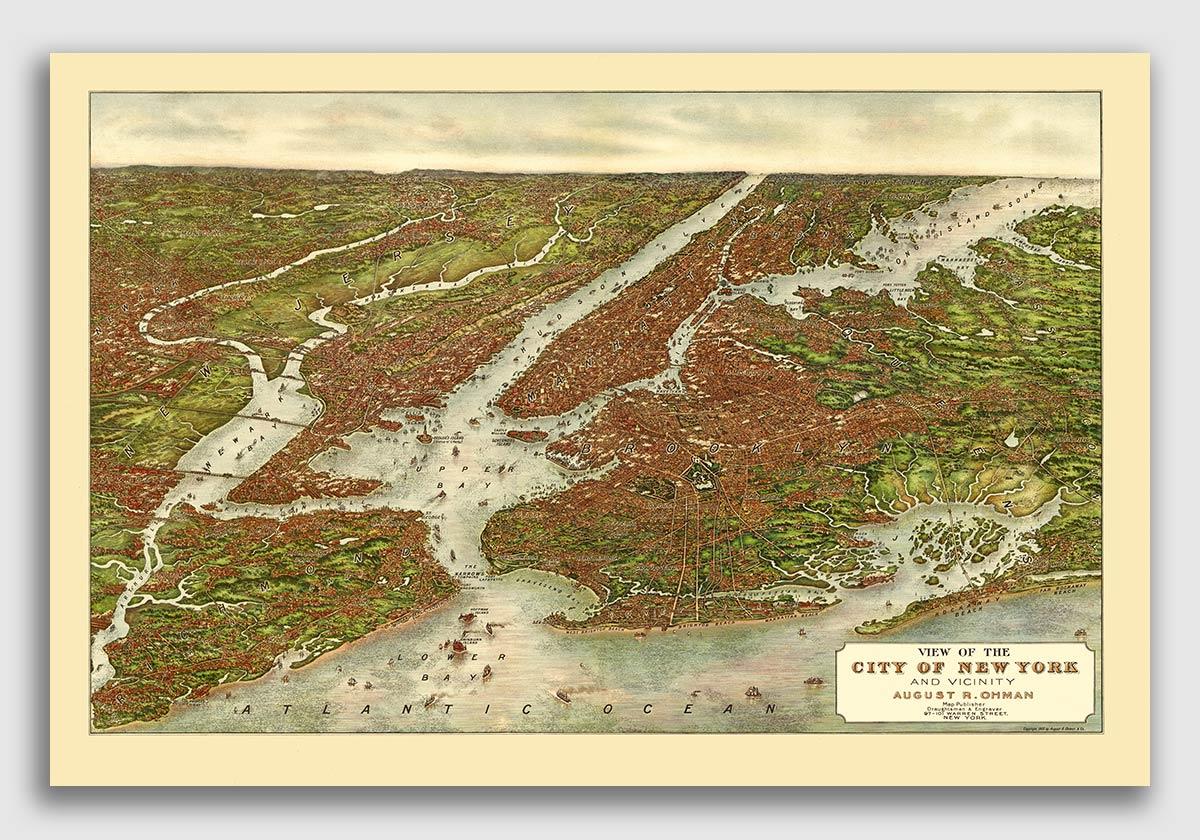 1890 Portland Oregon Vintage Old Panoramic City Map 20x30
