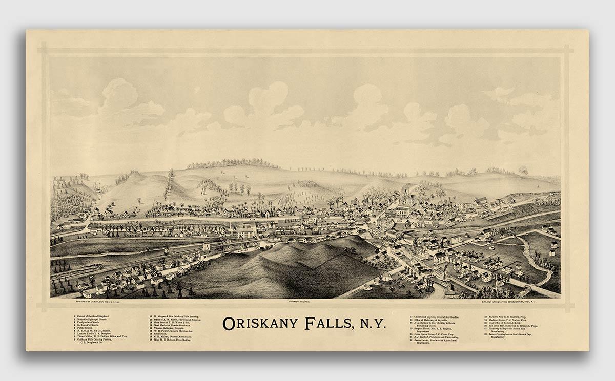16x24 Fort Plain New York 1891 Historic Panoramic Town Map