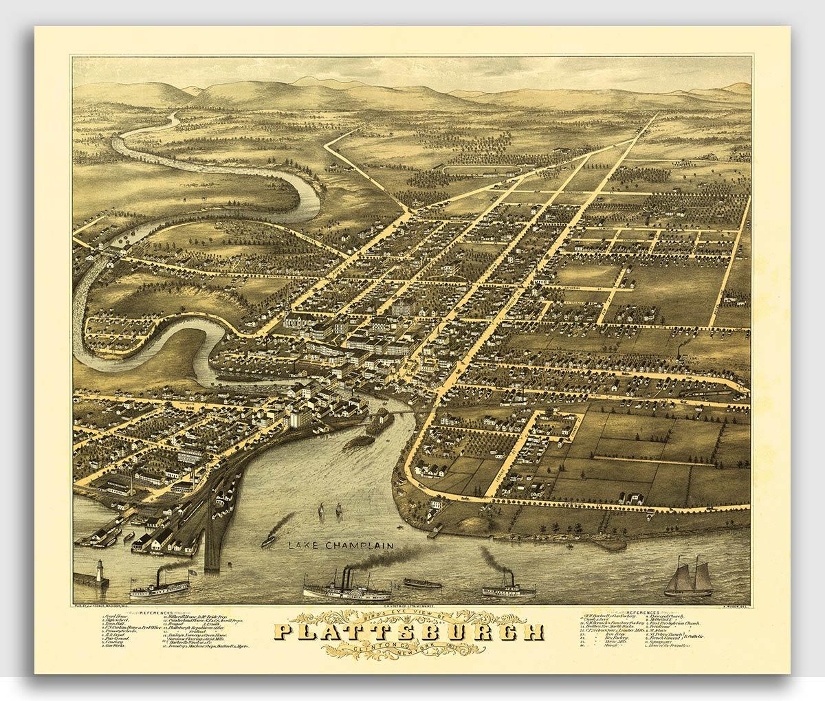 24x36 Plattsburgh New York 1899 Historic Panoramic Town Map