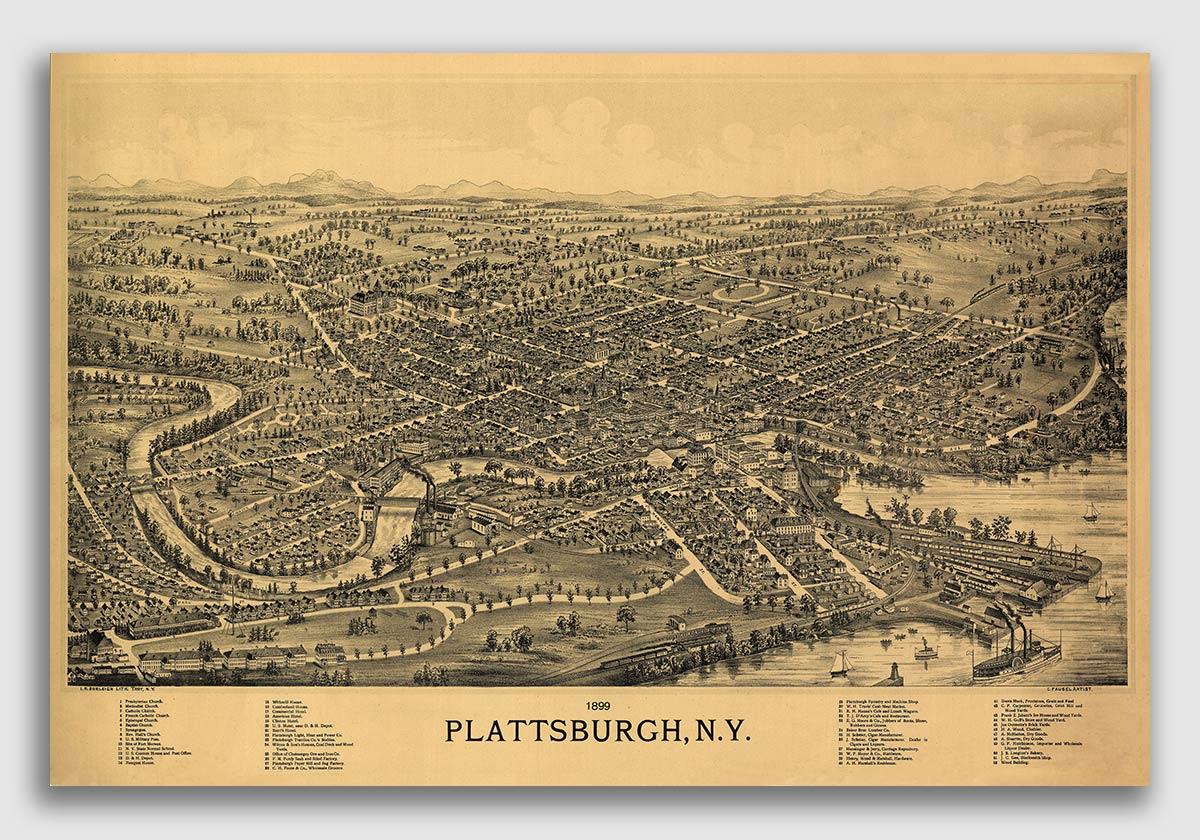 Broadalbin New York 1880 Historic Panoramic Town Map 24x36