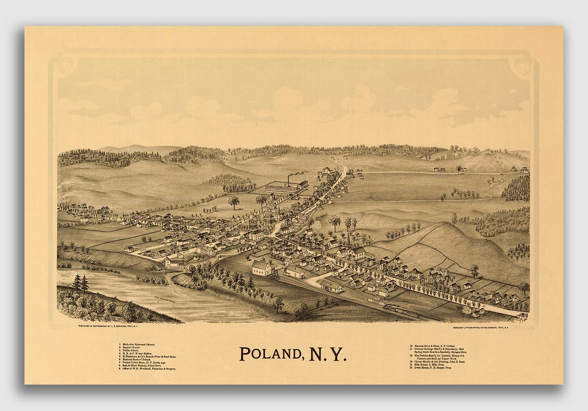 Keeseville New York 1887 Historic Panoramic Town Map 16x24