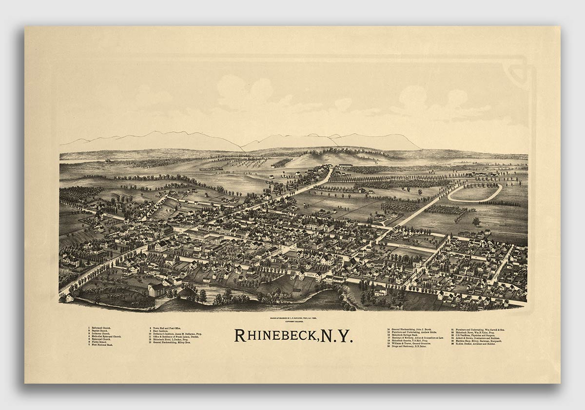 1888 Johnstown New York Vintage Old Panoramic NY City Map 16x24